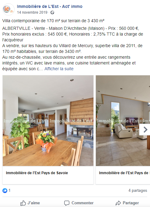 annonce immobiliere facebook